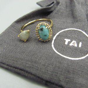 Tai Ring Adjustable Labradorite Blue Opaque